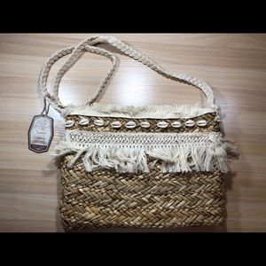 Crossbody Straw Bag With Shell Detail